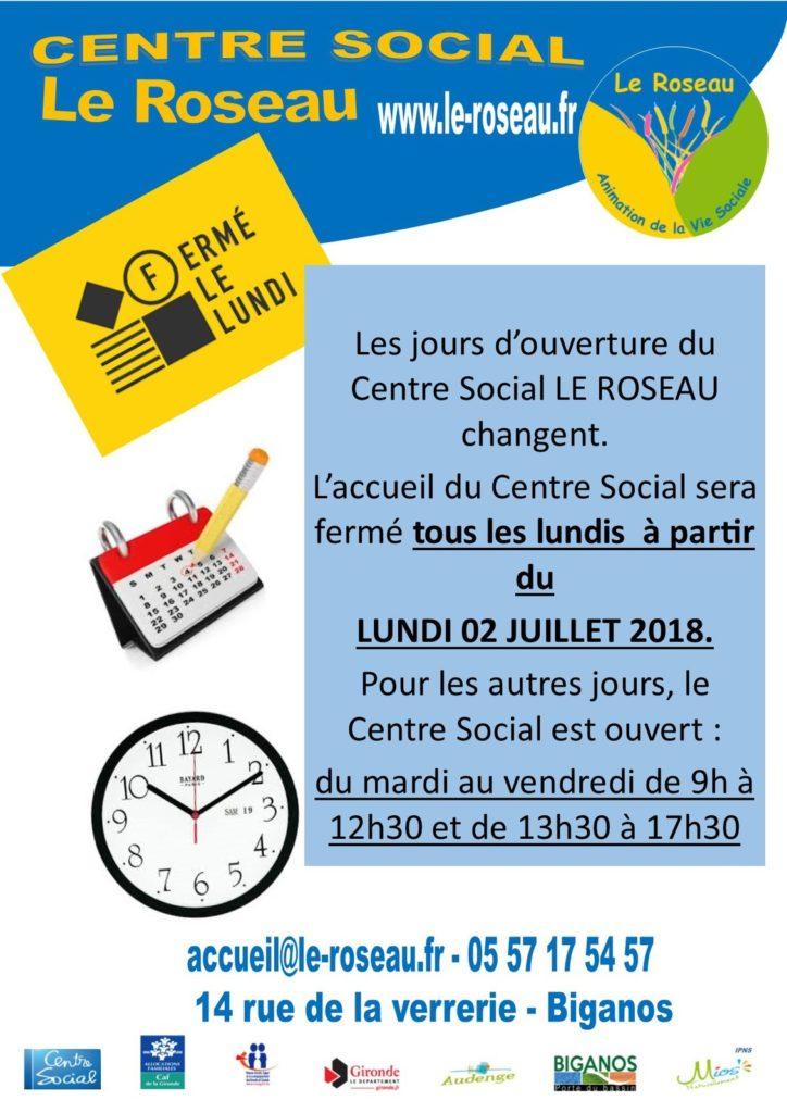 Affiche avec nouveaux horaires et jours d'ouverture du centre social