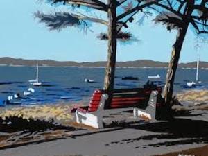 un banc face au bassin d'Arcachon, beau ciel bleu et bâteaux amarés